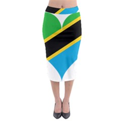 Heart Love Tanzania East Africa Midi Pencil Skirt by Celenk