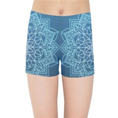 Mandala Floral Ornament Pattern Kids Sports Shorts