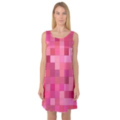 Pink Square Background Color Mosaic Sleeveless Satin Nightdress by Celenk