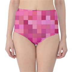 Pink Square Background Color Mosaic High Waist Bikini Bottoms by Celenk