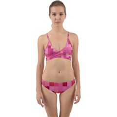 Pink Square Background Color Mosaic Wrap Around Bikini Set by Celenk
