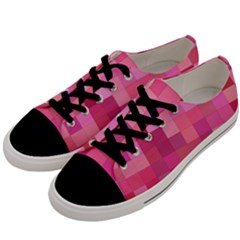 Pink Square Background Color Mosaic Men s Low Top Canvas Sneakers by Celenk