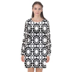 Pattern Seamless Monochrome Long Sleeve Chiffon Shift Dress
