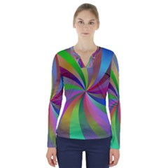 Spiral Background Design Swirl V Neck Long Sleeve Top