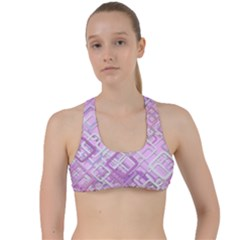 Pink Modern Background Square Criss Cross Racerback Sports Bra