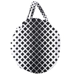 Square Diagonal Pattern Monochrome Giant Round Zipper Tote