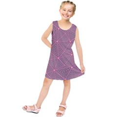 Purple Triangle Background Abstract Kids  Tunic Dress
