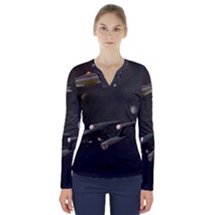 Space Travel Spaceship Space V Neck Long Sleeve Top by Celenk