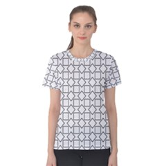 Square Line Stripe Pattern Women s Cotton Tee