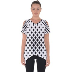 Square Pattern Monochrome Cut Out Side Drop Tee