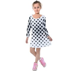 Square Pattern Monochrome Kids  Long Sleeve Velvet Dress