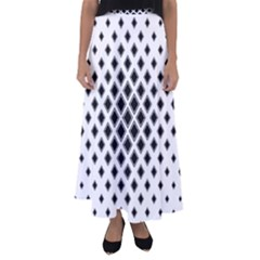Square Pattern Monochrome Flared Maxi Skirt