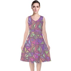 Triangle Background Abstract V Neck Midi Sleeveless Dress  by Celenk