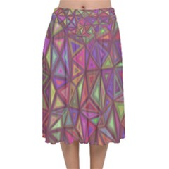 Triangle Background Abstract Velvet Flared Midi Skirt by Celenk