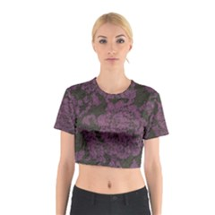 Purple Black Red Fabric Textile Cotton Crop Top