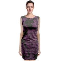Purple Black Red Fabric Textile Sleeveless Velvet Midi Dress