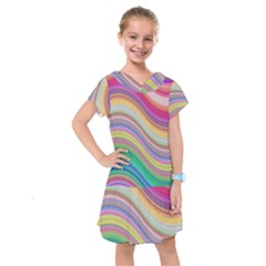 Wave Background Happy Design Kids  Drop Waist Dress