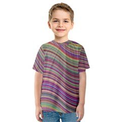 Wave Abstract Happy Background Kids  Sport Mesh Tee
