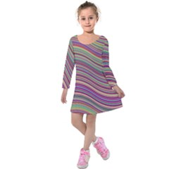 Wave Abstract Happy Background Kids  Long Sleeve Velvet Dress