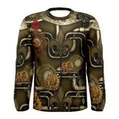 Wonderful Noble Steampunk Design, Clocks And Gears And Butterflies Men s Long Sleeve Tee by FantasyWorld7