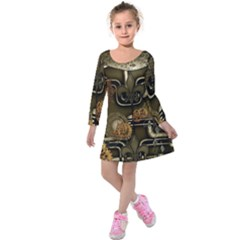 Wonderful Noble Steampunk Design, Clocks And Gears And Butterflies Kids  Long Sleeve Velvet Dress by FantasyWorld7