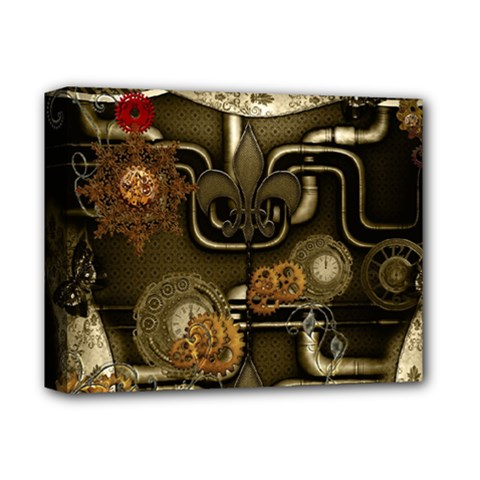 Wonderful Noble Steampunk Design, Clocks And Gears And Butterflies Deluxe Canvas 14  X 11  by FantasyWorld7