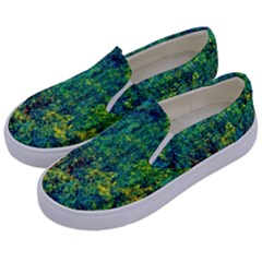 Flowers Abstract Yellow Green Kids  Canvas Slip Ons by Costasonlineshop