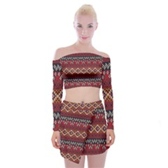 Native American Pattern 8 Off Shoulder Top With Mini Skirt Set