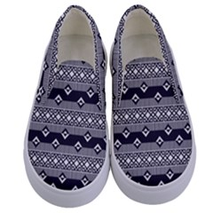 Native American Pattern 9 Kids  Canvas Slip Ons