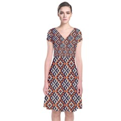 Native American Pattern 11 Short Sleeve Front Wrap Dress