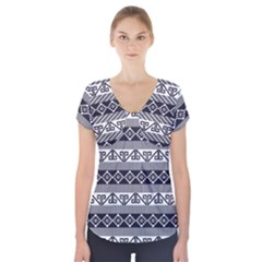 Native American 12 Short Sleeve Front Detail Top by Cveti
