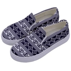 Native American 12 Kids  Canvas Slip Ons by Cveti