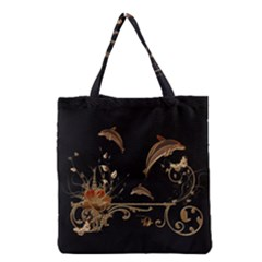 Wonderful Dolphins And Flowers, Golden Colors Grocery Tote Bag by FantasyWorld7
