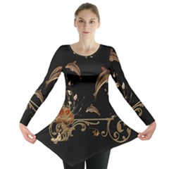 Wonderful Dolphins And Flowers, Golden Colors Long Sleeve Tunic