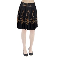 Wonderful Dolphins And Flowers, Golden Colors Pleated Skirt