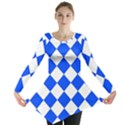 Blue White Diamonds Seamless Long Sleeve Tunic  View1
