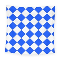 Blue White Diamonds Seamless Square Tapestry (large) by Celenk