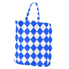 Blue White Diamonds Seamless Giant Grocery Zipper Tote by Celenk