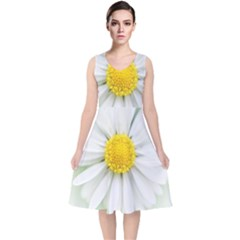 Art Daisy Flower Art Flower Deco V Neck Midi Sleeveless Dress  by Celenk