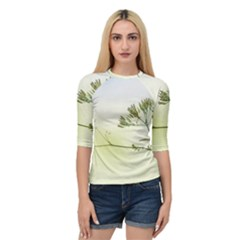 Spring Plant Nature Blue Green Quarter Sleeve Raglan Tee by Celenk