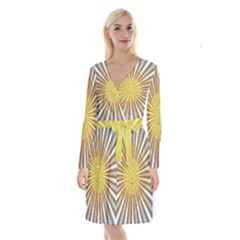 Abstract Art Modern Abstract Long Sleeve Velvet Front Wrap Dress