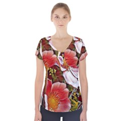 Flower Hostanamone Drawing Plant Short Sleeve Front Detail Top by Celenk