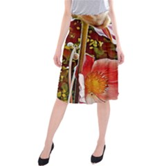 Flower Hostanamone Drawing Plant Midi Beach Skirt