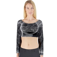 Space Universe Earth Rocket Long Sleeve Crop Top by Celenk