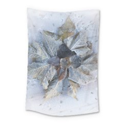 Winter Frost Ice Sheet Leaves Small Tapestry by Celenk