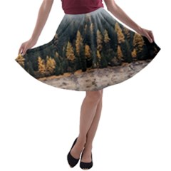 Trees Plants Nature Forests Lake A Line Skater Skirt by Celenk