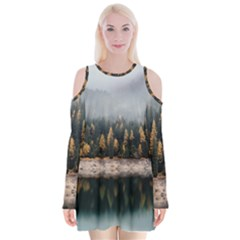 Trees Plants Nature Forests Lake Velvet Long Sleeve Shoulder Cutout Dress by Celenk