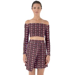 Native American Pattern 22 Off Shoulder Top With Skirt Set