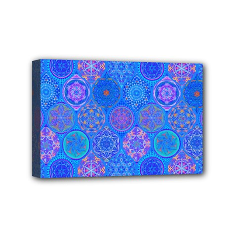 Geometric Hand Drawing Pattern Blue  Mini Canvas 6  X 4