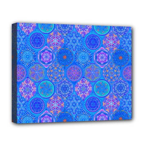 Geometric Hand Drawing Pattern Blue  Deluxe Canvas 20  X 16   by Cveti
